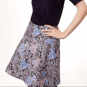 LOFT Butterfly Floral Embroidered Jacquard Flare